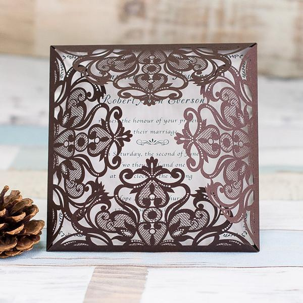 2018 Laser Cut Brown Wedding Invitations Cards Personalized Hollow Wedding Invitation Cards, Free Printable With Envelope