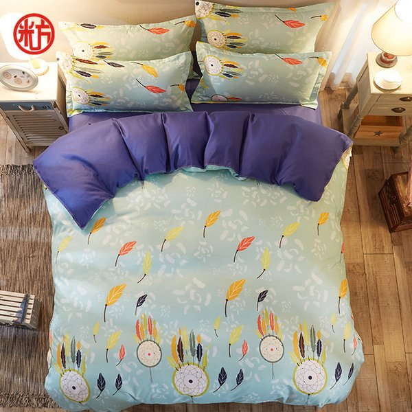 Bells bedding set (Miss You) blue bed linen set Autumn swan-sheet, pillowcase & duvet cover Modern bedclothes 4pcs bed