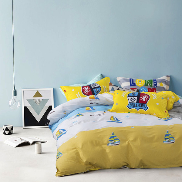 Set biancheria da letto stampata 4 pezzi copripiumino queen / king copriletto giallo copriletto Tessili per la casa