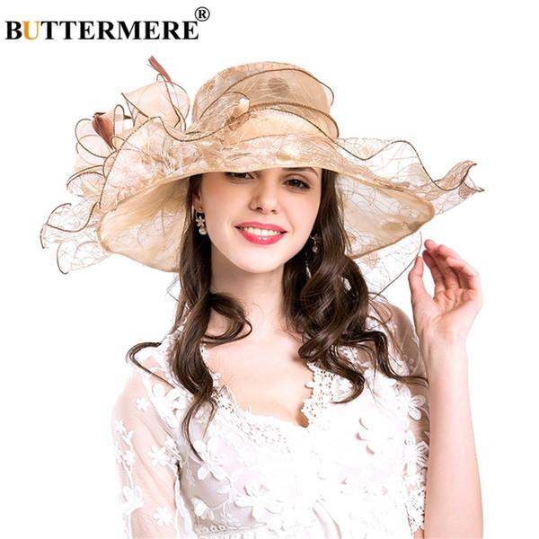 BUTTERMERE Mujeres Sombrero de Sol Flor Grande Beige Señoras Sombreros Boda Elegante Señora Wide Brim Mujer Sol Caps Verano 2018