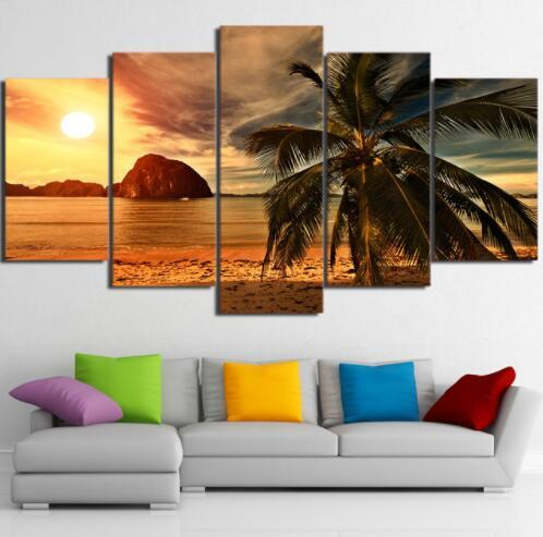 HD Home Decoration Canvas Poster Wall Art Modern 5 Panel Tropical Beach Palm Tree Living Room Printed Pictures Painting Frame