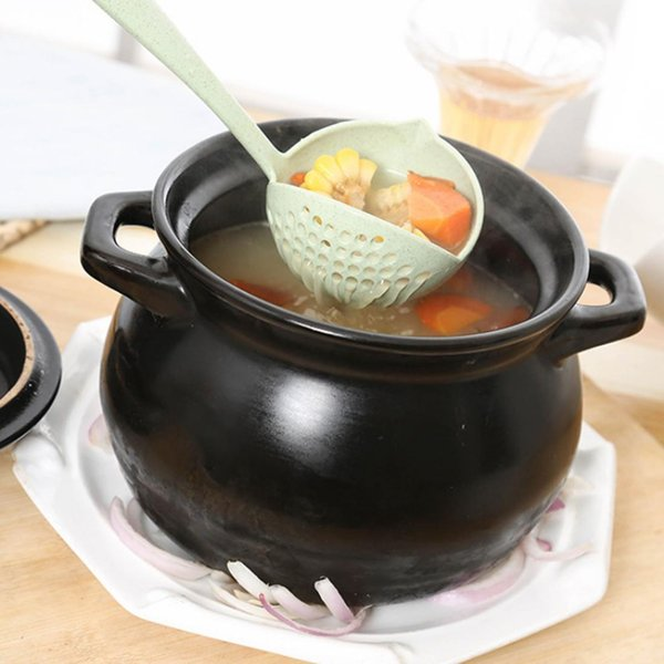 1x 2 in 1 Suppe langen Griff heißen Topf Geschirr Suppe Colander Löffel New DE
