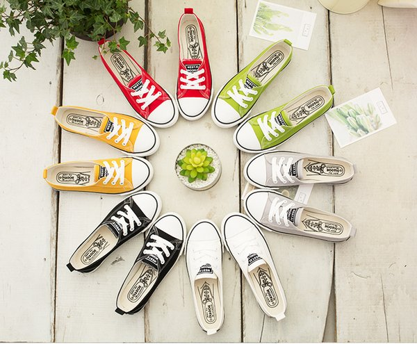 Spring Summer Women Shallow Flat Casual Canvas Shoes Comfortable Low-top Laced Up Sneakers Slip-on Shoes for Girls Students 35-40 Size