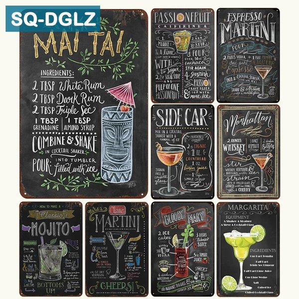 2019 Sq Dglz New Martini Mojito Cocktail Menu Tin Sign Bar Wall Decor Club Metal Crafts Home Decor Painting Plaques Art Poster From Natal 33 56