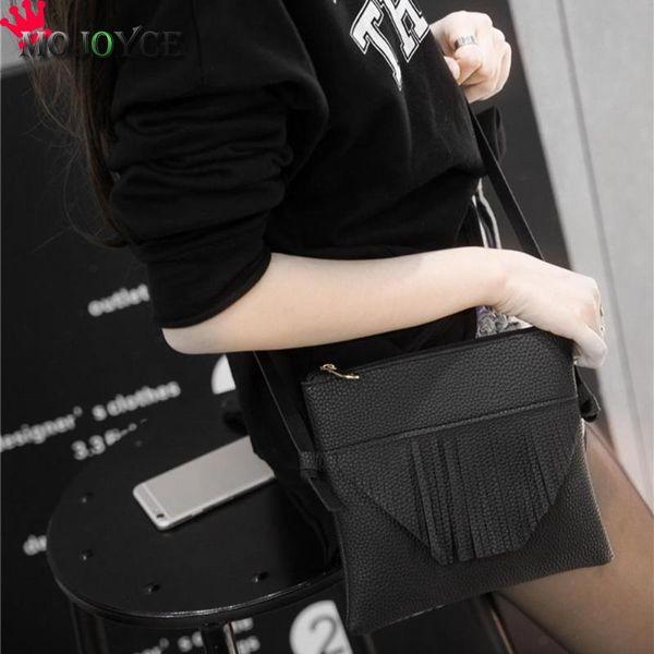 Мода женщины Crossbody сумки простой элегантный искусственная кожа сумки на ремне девушки повседневная молния кисточки сумки посыльного