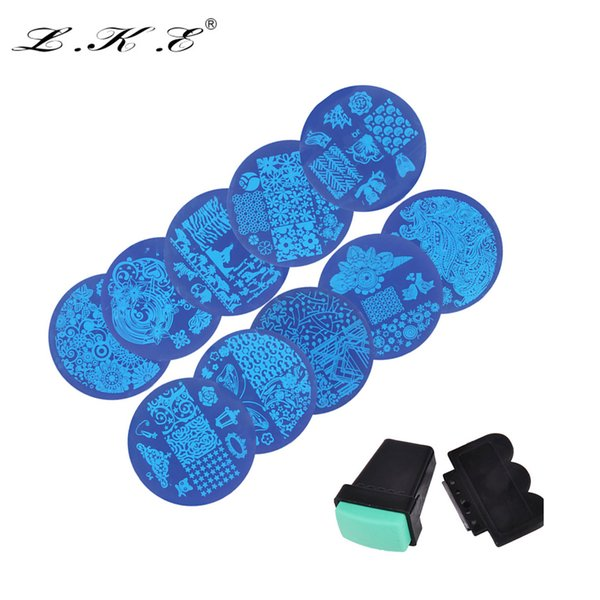 LKE 10pcs New Nail Art Templates Nail Stamper Plates Stamping Transfer Scraper Plates Manicure stencils for nails