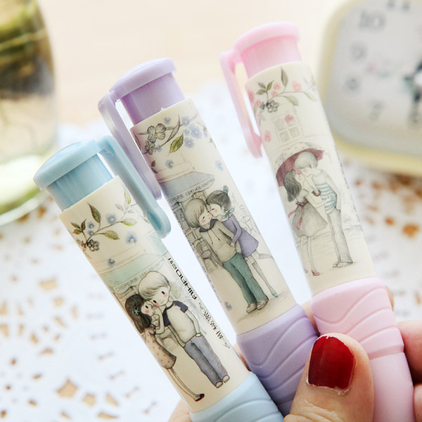 Cute Designer Students Pen Shape Eraser Rubber 3 Colors Pencil Erasers Stationery Kid Gift Toy School Supplies