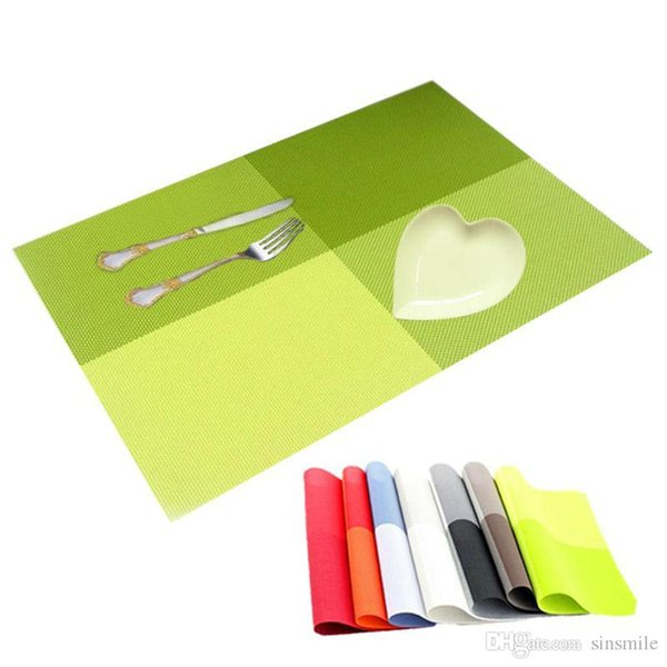 Wholesale- 4PCS/Iot PVC Table Mats Placemat 8 Colors Decoration Kitchen Tables Dinning Waterproof Tableware Pad Coaster Coffee Place Mats