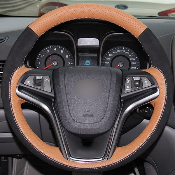 Top Leather Steering Wheel Hand-stitch on Wrap Cover For Chevrolet Malibu 2011