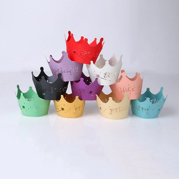 10pcs/lot Princess Crown Design Style Paper Vine Lace Cup Cake Wrappers Hollow Muffin Cupcake Wedding Party Birthday Decoration