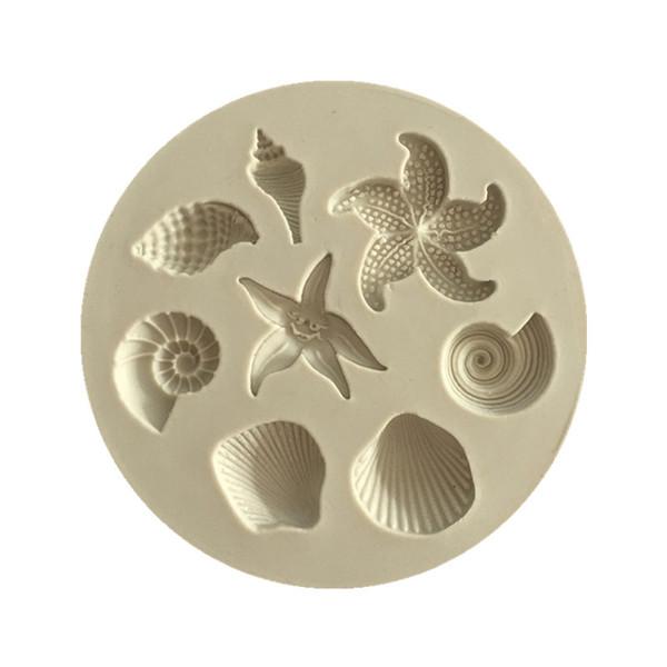 Cozinha DIY Criaturas Do Mar Concha Starfish Shell Fondant Bolo Moldes De Silicone Criativo DIY Molde De Chocolate Cozinha Líquida Bolo A1351