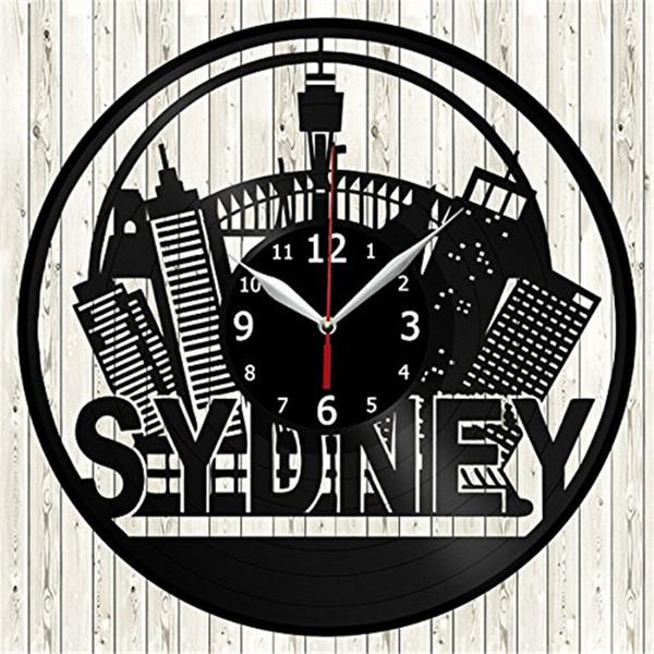 Australian SYDENY Vinyl Wall Clock Modern Home Decor Crafts Creative Handmade Gift Office Wall Art Decoration Black Quartz Clock
