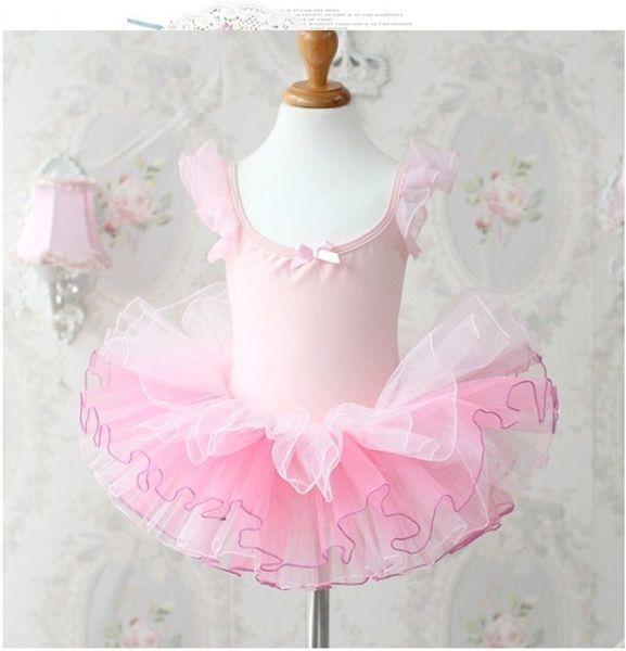 Child kids baby girls pink leotard ballet tutu dress dancewear dance costume vestido infantils 3-8T skating party show clothing