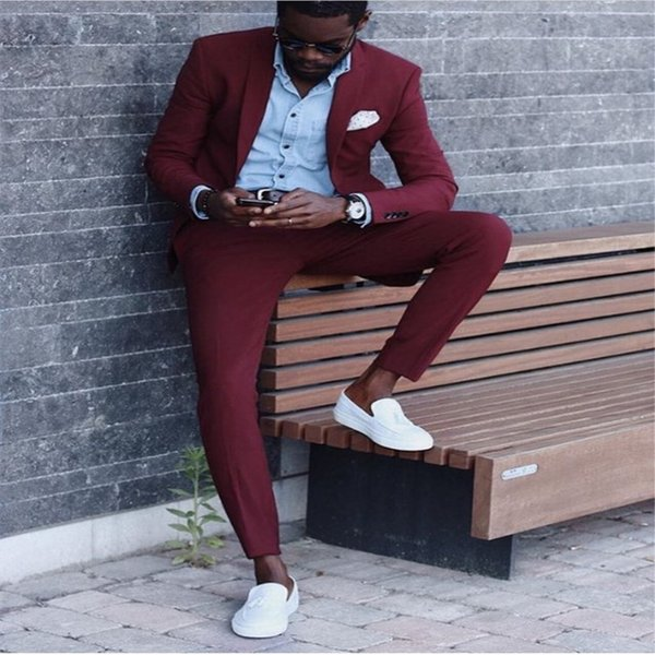 Notch Lapel Dark Red High Quality 2Pieces (Jacket+Pant+Tie) Latest Coat Pant Style Fashion Terno Masculino Groom Suit