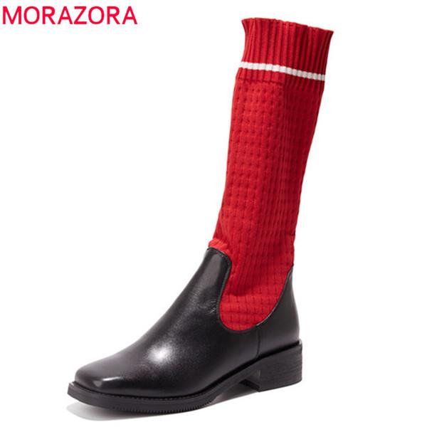 MORAZORA 2018 yüksek kalite hakiki deri çizmeler kadın kare ayak orta buzağı çizmeler karışık renkler Streç çorap serseri ayakkabı