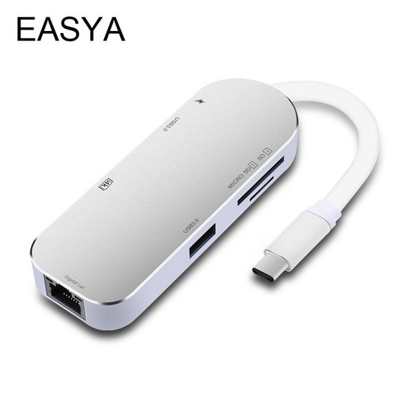 EASYA USB C Hub to HDMI Rj45 Gigabit Ethernet Adapter Thunderbolt 3 USB-C with Type-C PD SD/TF Card Reader Slot for Macbook Pro