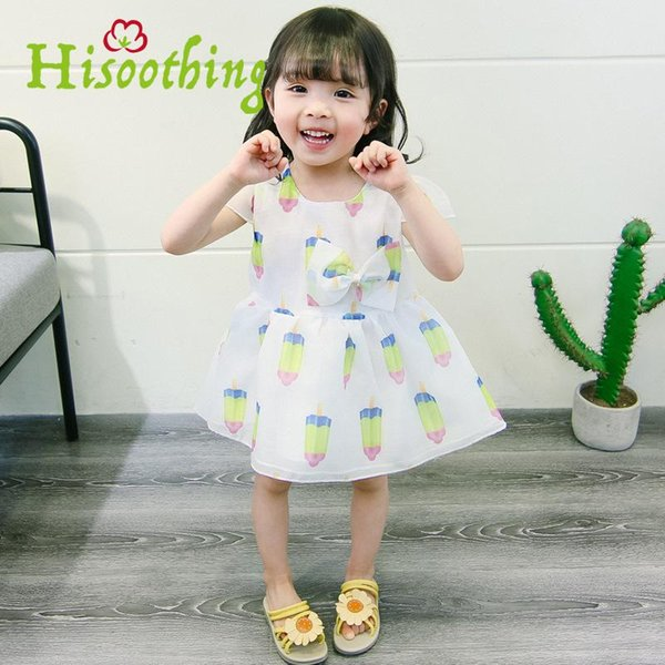 Female Baby Summer 2018 Cute Girls Dress Cool dress Korean Short Sleeved Popsicles Cartoon print Sheer bow princess