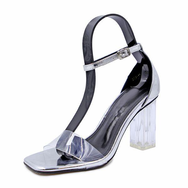 Épais avec des sandales femme 2018 nouvelle mode européenne et américaine sexy cristal transparent chaussures à talons hauts romaine fée chaussures été rétro