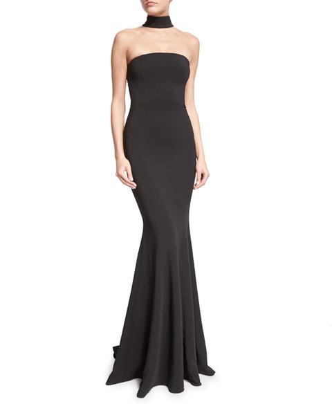 Neue High-End-Herbst-Kleid heiße Art Black Mermaid Dress Elegant Abendkleid Stock Länge lange Bodycon ärmelloses Kleid Mode