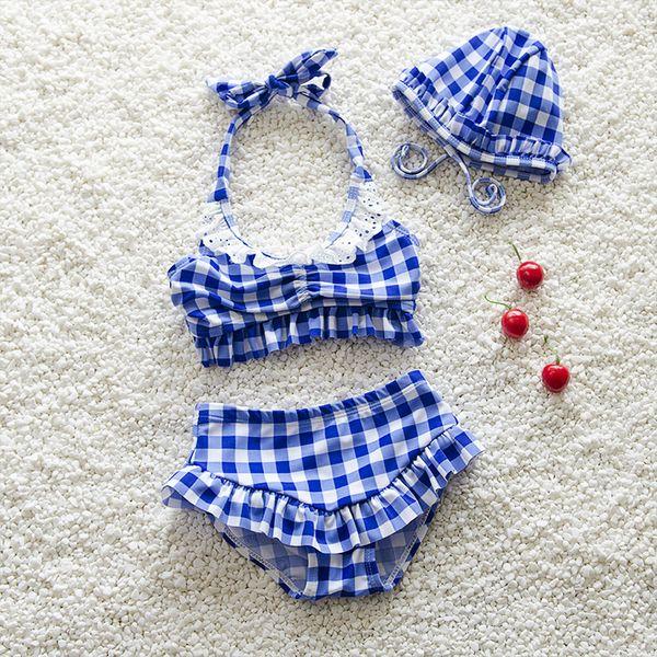1-4 t mädchen plaids badebekleidung 2 stück set blau rot 2 farben neckholder spitze arbeitsoberteil + falbala shorts 1-5 t kinder off shouder strand kleidung ins heiß