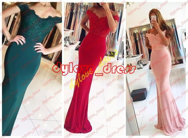 2018 sexy plus size cheap bridesmaid formal evening gowns black girl prom dresses off shoulder sleeves mermaid dresses red prom dress