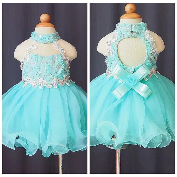 2019 Cute High Neck beads organza Backless applique cupcake little Girls Pageant Dress Child Toddler glitz Kids Prom Infant Ball Gowns