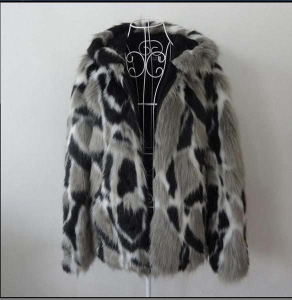 Wholesale- Male Winter Autumn Imitation Mink Coat Hooded Large Size Man Faux Fur Coats Mix Color Mens S/5Xl Fur Outcoats Clothes J1648-10