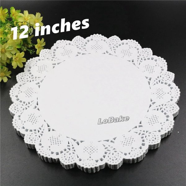 (160pcs/pack) New 12 inches round flower shape white hollow design paper lace doilies placemat cup mat kitchen table mats