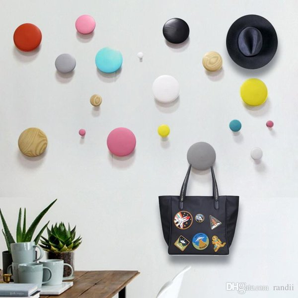 High quali Colorful Creative Wall Mounted Color Painting Wood Hook Hanger Hat Coat Door Clothes Rack For Home Decoration doodle