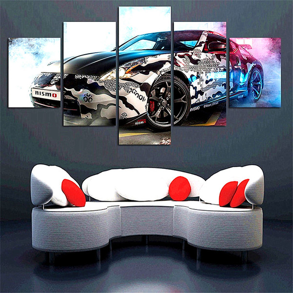 Nissan 370Z Tuning,5 Pieces The Latest Most Popular High-definition Canvas Printed Home Decorative Art/ Unframed / Framed