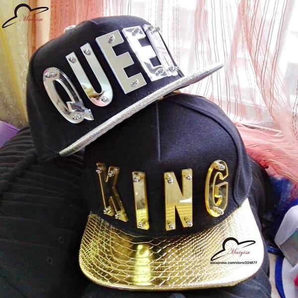 KING QUEEN Custom Mirror acrylic letters hat Basketball Hat Mens Baseball Caps Unisex Gorras Hip hop Snapbacks Brand Cap