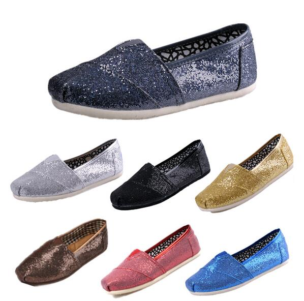Size 35-45 New Fashion Women Glitter Flats Shoes Sneakers Women and Men one for one Canvas Shoes loafers casual shoes Espadrilles
