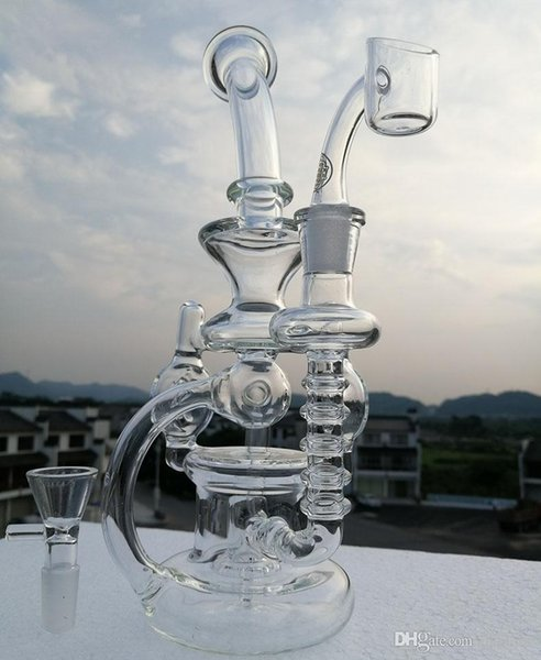 Recycler glass big size bong with 100% quartz banger water pipes smoking pipe oil rigs tyre perc beaker base bongs 14.4mm joint