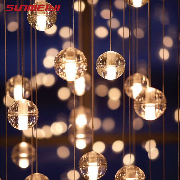 Lampade a sospensione a sospensione a LED Loft Caffè Camera da letto Illuminazione lustri e pendenti per sala da pranzo Lampade a sospensione moderne in vetro