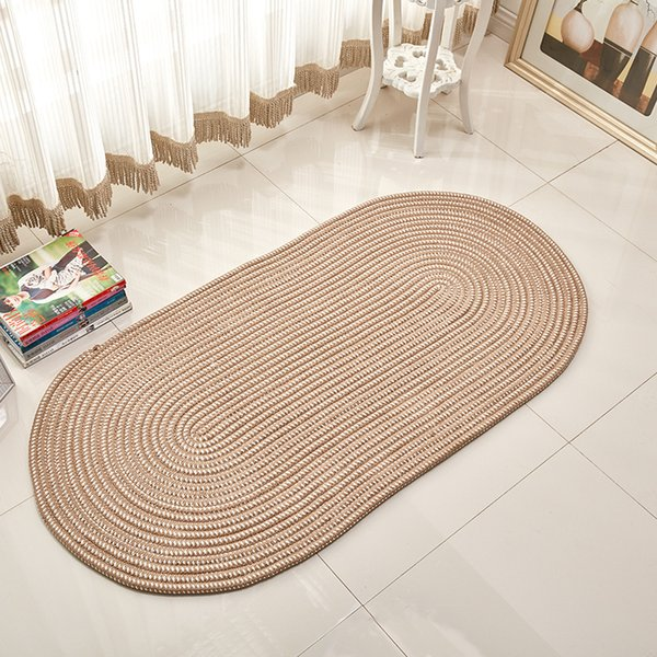 Handmade Weave Oval Carpets For Living Room Solid Computer Chair Area Rugs Children Play Tent Floor Mat Cloakroom Tatami Mats