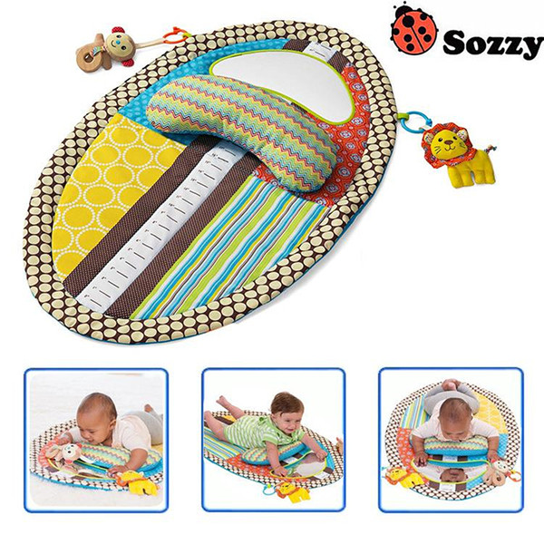 top popular Sozzy Baby Playing Mat with Cute Cartoon Animal Plush Doll Multifunctional Crawling Big Size game blanket 2021