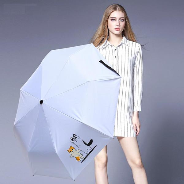 2019 New 3-Folded UmbrellaBlue Cute Dog Umbrellas UV-proof Windproof Pocket Adults Umbrellas Girl Gift parasol free shipping
