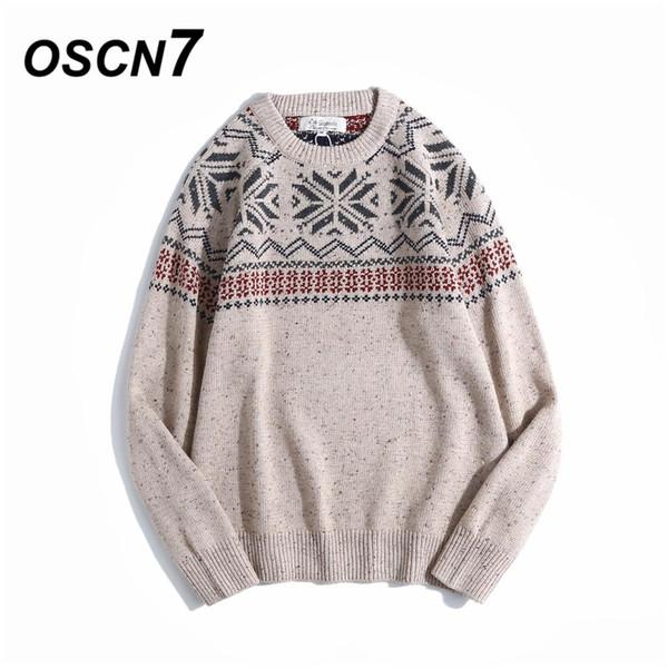 OSCN7 Winter 3 Color estilo nacional Jacquard Knit Pullover Suéter Hombres Moda punto de Navidad hilo de punto Sweater Hombres lu ~ 2