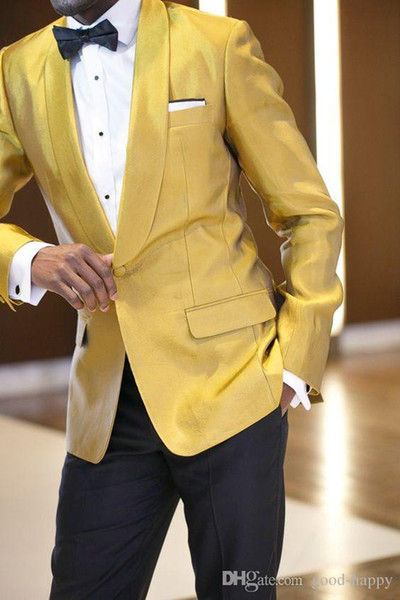 Customize Slim Fit Shiny Yellow Groom Tuxedos Groomsmen One Button Beautiful Men Formal Suits Business Wear Prom Suit(Jacket+Pants+Tie)NO;38