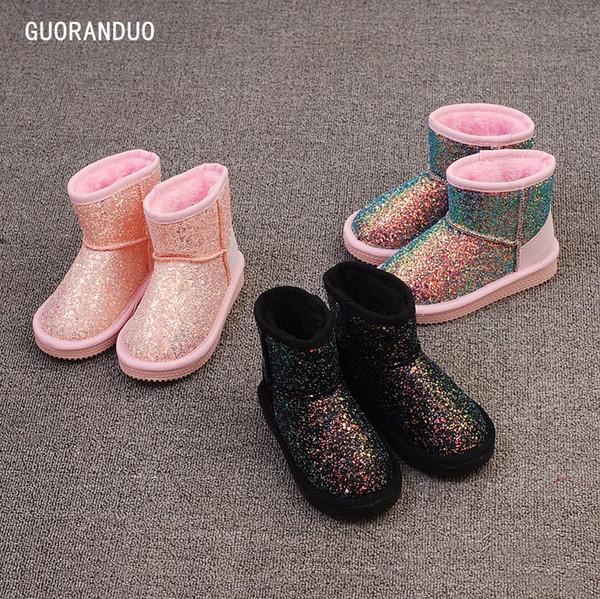 Botas para niños Lentejuelas Niñas Botas para la nieve Niño Zapatos de invierno engrosados Botas cortas clásicas Calientes Botas para niños Zapatos impermeables LDH251