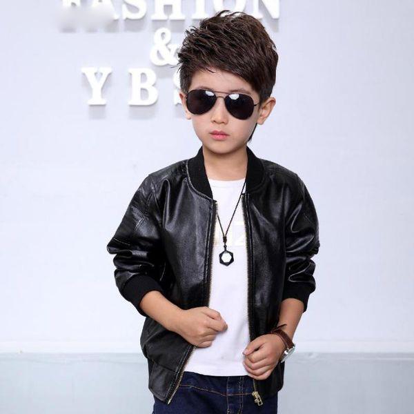 Autumn Kids Fashion Leather Jacket Black Brown PU Windproof Slim Warm Soft Brief 2018 Children Casual Coat For Big Boys