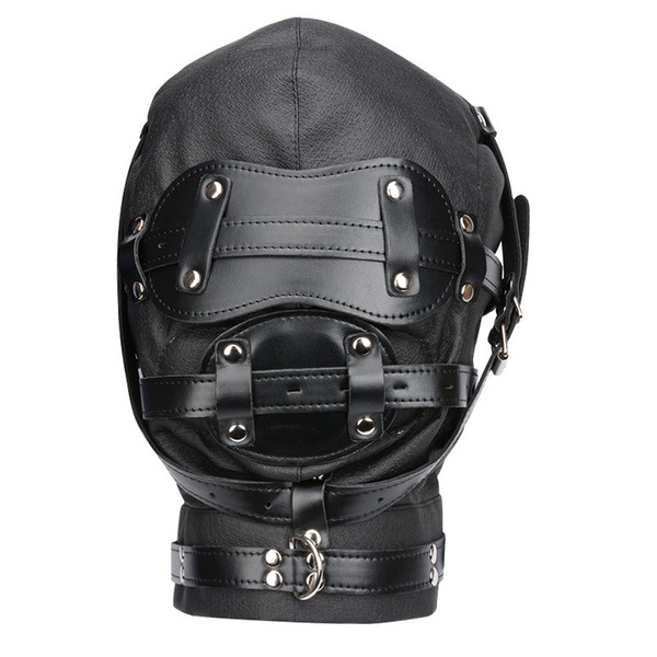 New Hot Soft Leather Bondage Whole Sealing Lace Up Hood Headgear Face Mask Eyepatch Dog Slave BDSM Bed Games Sex Product Flirting Toy