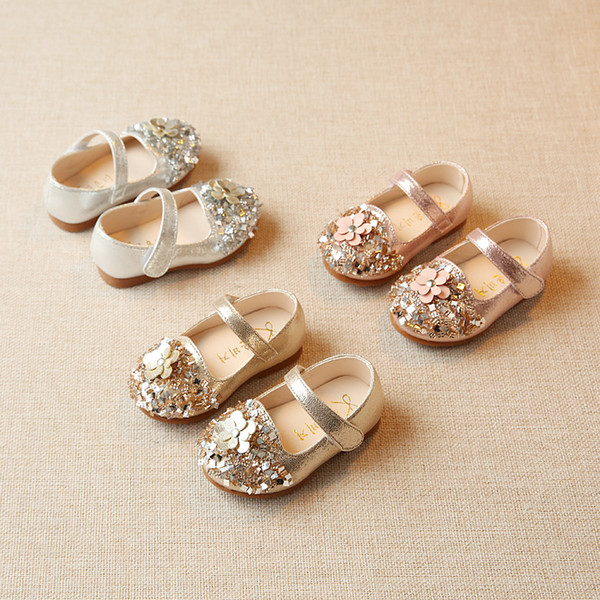 Sequins Baby Princess Shoes 2018 New Korean Diamond 0-2 Year Baby Toddler Shoes Soft Bottom Children's Leather Flowers