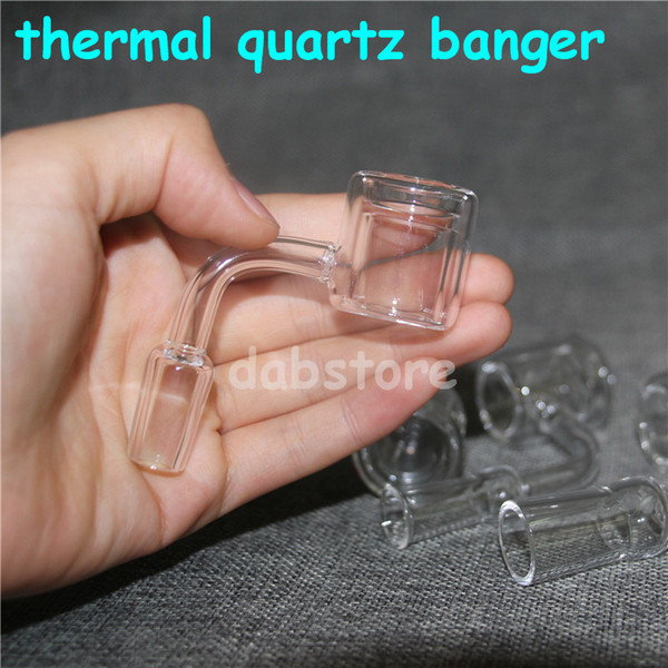 Thermal Quartz Banger Nail joint 14mm 18mm female male Crystal Double Tube Quartz Bangers Nail for Dab rig glass bong oil rigs