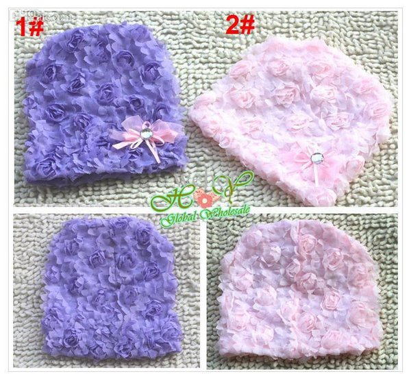 Wholesale-Freeshipping!! New baby infant girls hat flower winter/ girl's lace bowknot spring beanies cap pink / Wholesale