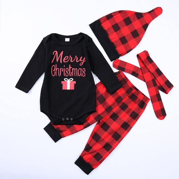 Детские рождественские костюмы Детская одежда набор новорожденных Детская одежда Рождество сетки письмо печатных для 4 шт. дети малыш Xmas партия наряды