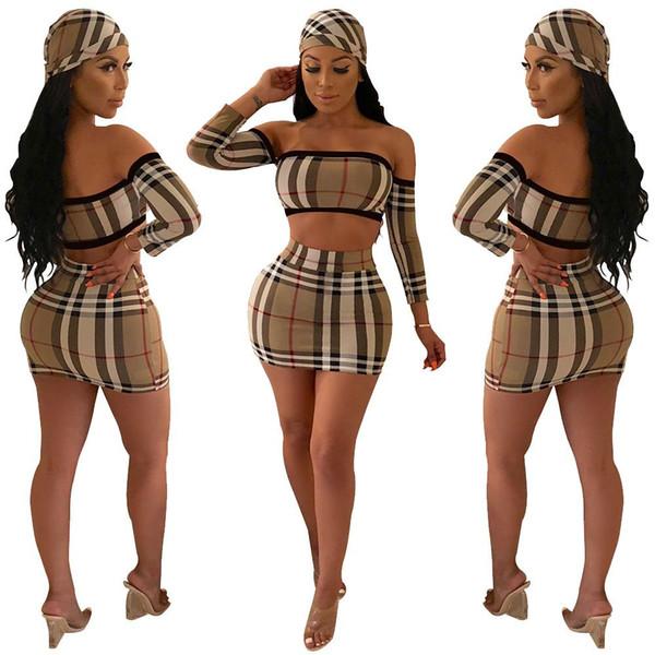 3pcs costumes mode européenne sexy automne courte robe courte à carreaux imprimer deux pièces robe moulante femmes gaine parti porter des manches longues avec foulard