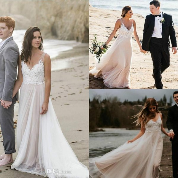 Hot Modest Sheer Straps V Neck Cheap Beach Wedding Dresses Top Appliques Lace Summer Country Bohemian Bridal Gowns Low Back Custom Design