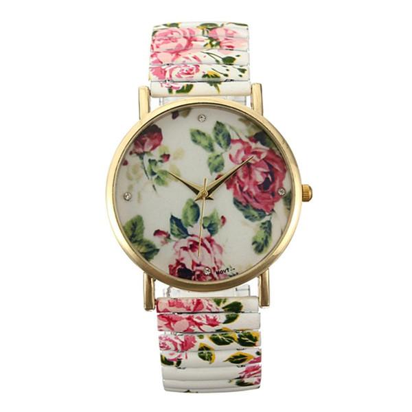 Fashion Painting Floral Flower Bracelet Elastic Alloy Quartz Watch Woman Gift