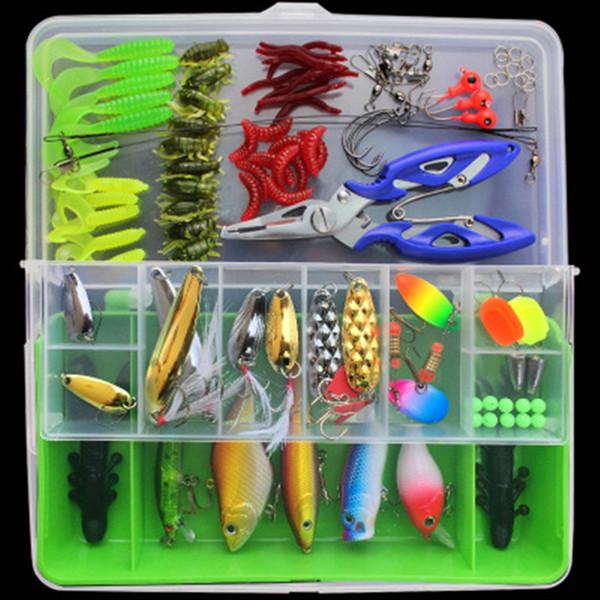 Señuelos de pesca dura 101pcs / Set Accesorios de pesca suave Ganchos De Pesca Kit de cebos duros Cebos de manivela Crankbaits en caja de almacenamiento Artificial